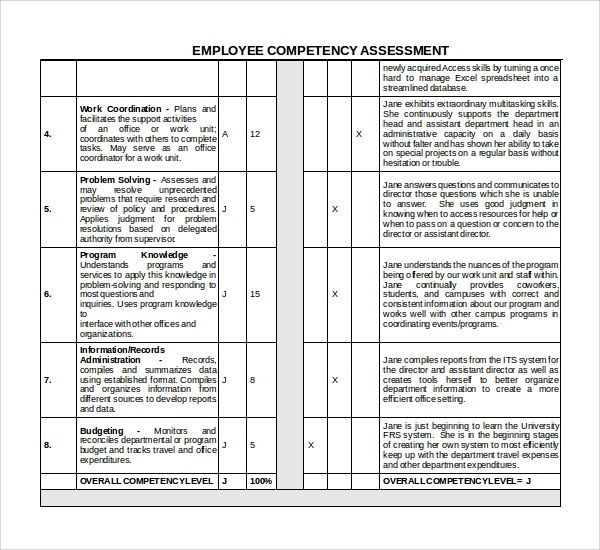 Sample Competency Assessment Template 6 Free Documents Download – Career Assessment Template