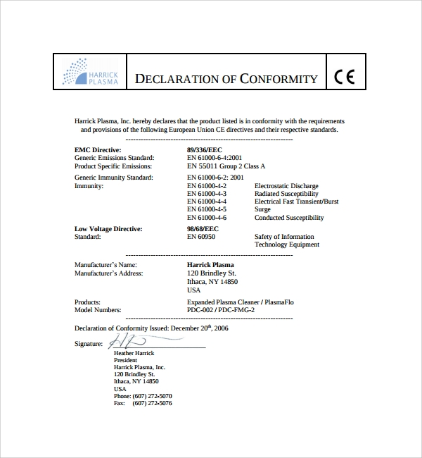 13 conformity certificate templates to download sample for Certificate of conformance template