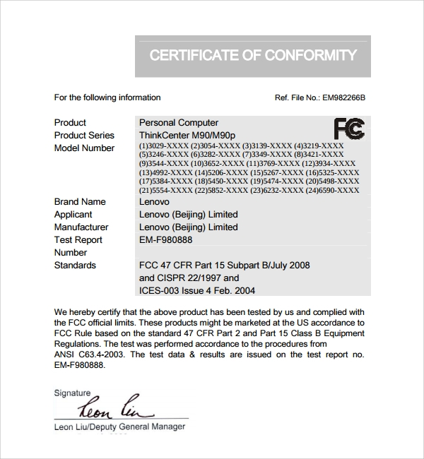 Sample Conformity Certificate Template 8 Free Documents in PDF – Certificate of Conformance Template