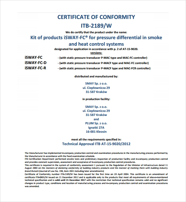 letter of conformance template - sample conformity certificate template 8 free documents