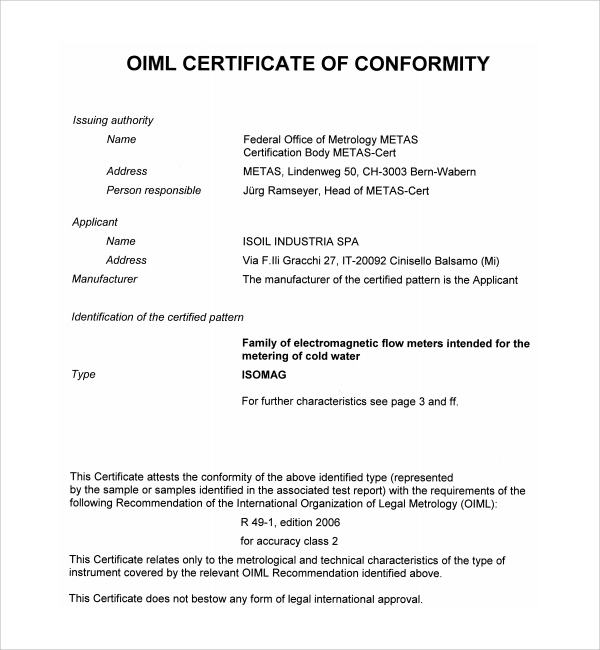 sample conformity certificate template