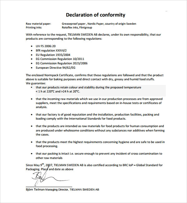 example of conformity certificate