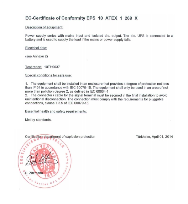 Sample conformity certificate template 8 free documents for Certificate of manufacture template