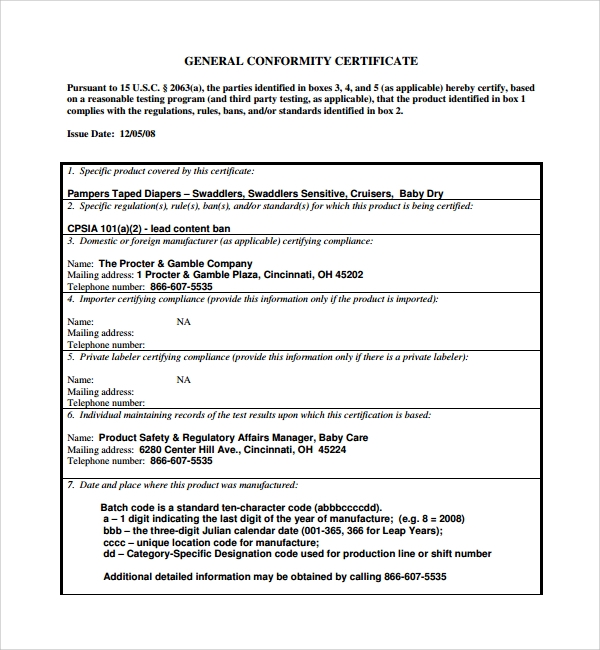 General Conformity Certificate Template