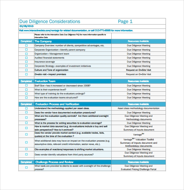 Sample Due Diligence Checklist Template 8 Free