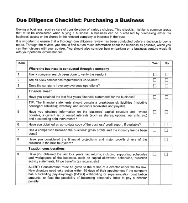 Sample Due Diligence Checklist Template   Free Documents In Pdf