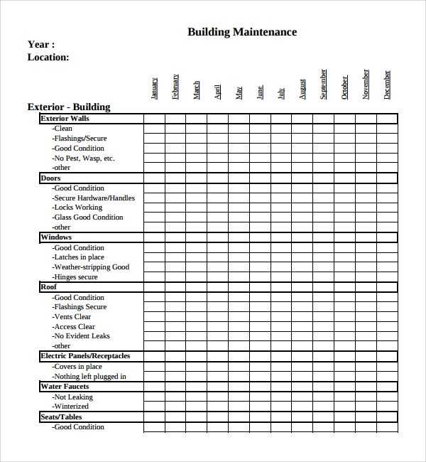 Sample maintenance checklist template 9 free documents for Building a house checklist