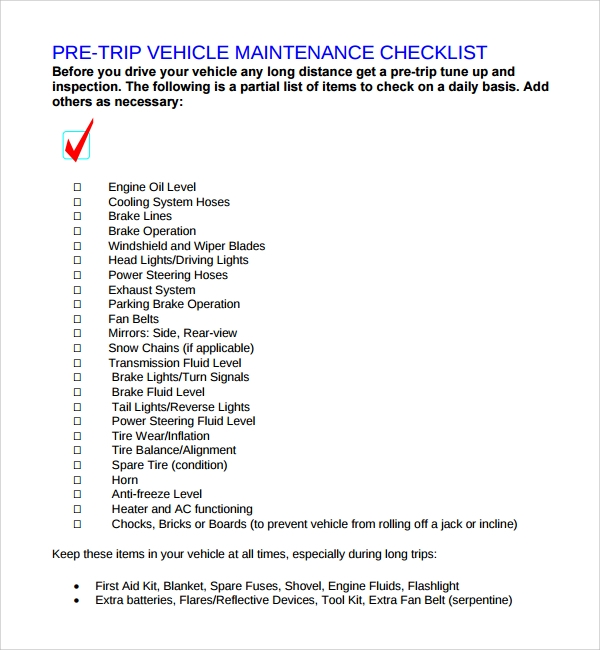 17 maintenance checklist templates pdf word pages for Van checklist template