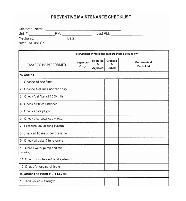 Sample Maintenance Checklist Template - 9+ Free Documents In Pdf