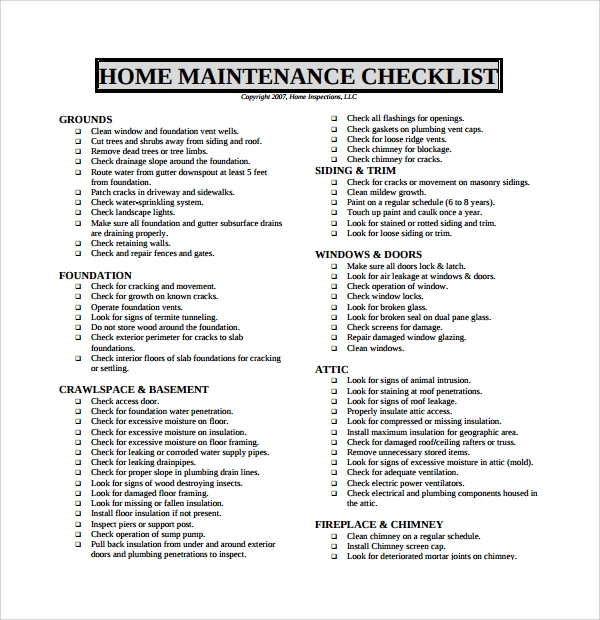 17 maintenance checklist templates pdf word pages for Home renovation checklist pdf
