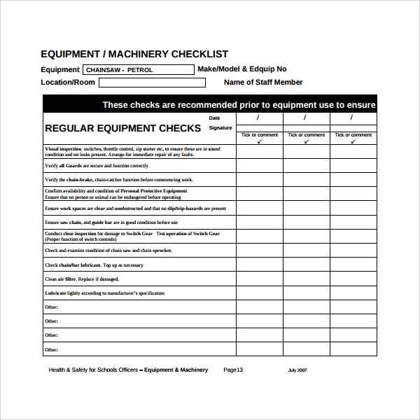 26 Maintenance Checklist Templates Pdf Word Pages