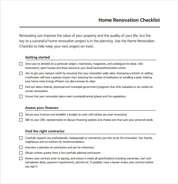 10 renovation checklist templates to download sample templates for Bathroom renovation contract template