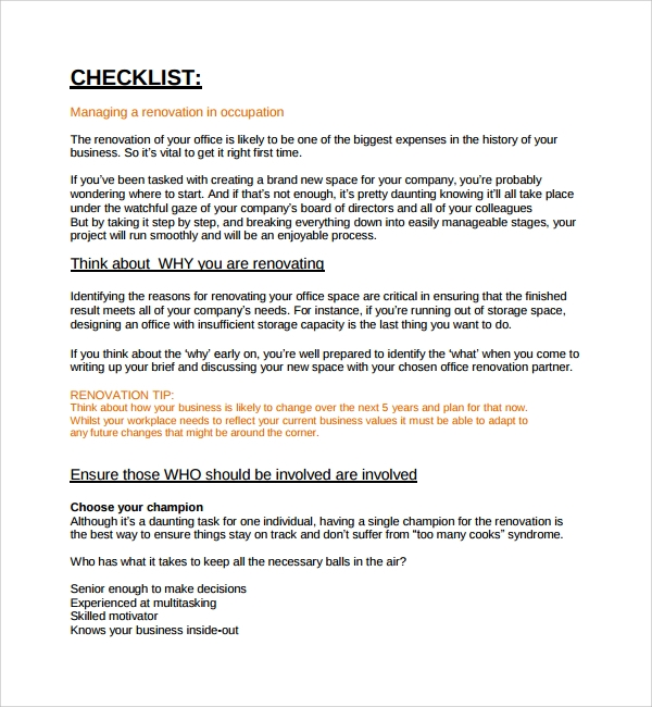 Sample Renovation Checklist Template - 9+ Free Documents in PDF