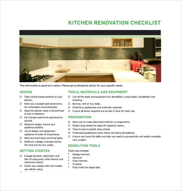 sample renovation checklist template 9 free documents in pdf