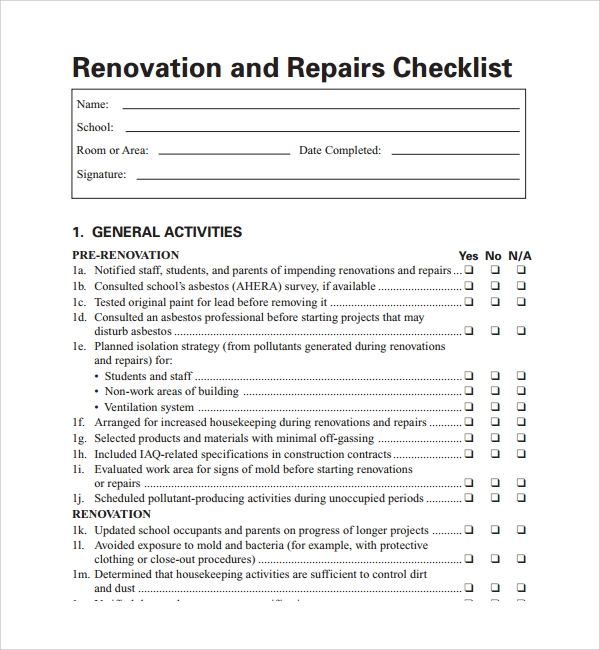 Sample Renovation Checklist Template 9 Free Documents