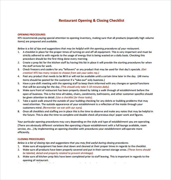 daily restaurant checklist template