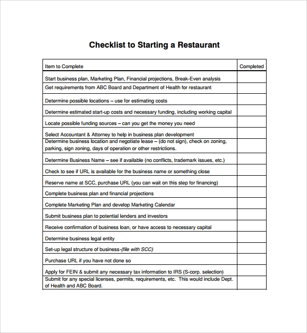 checklist to starting a restaurant