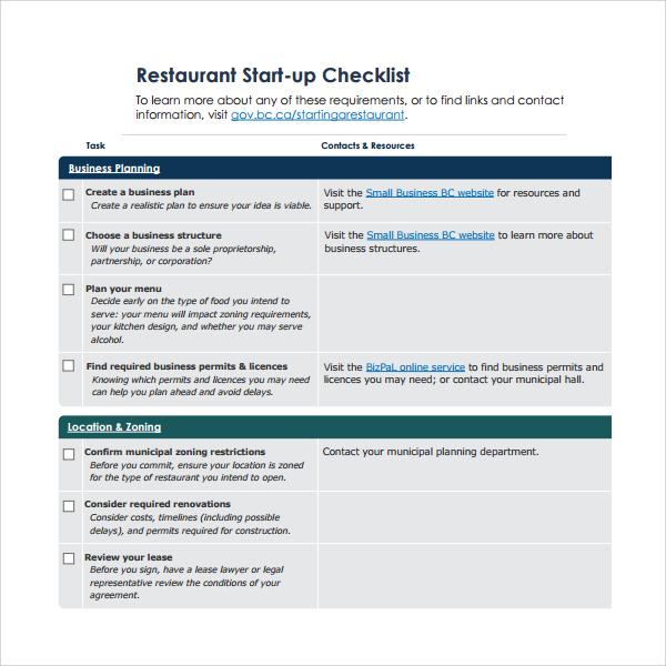 restaurant startup checklist%ef%bb%bf