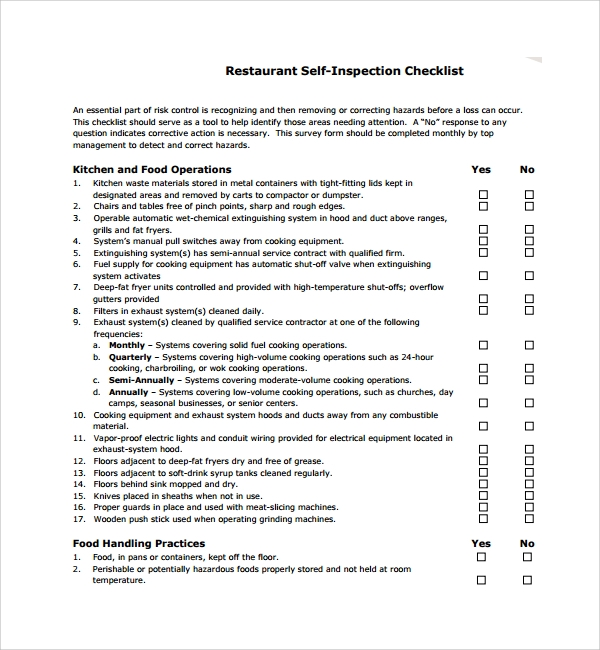 restaurant self inspection checklist