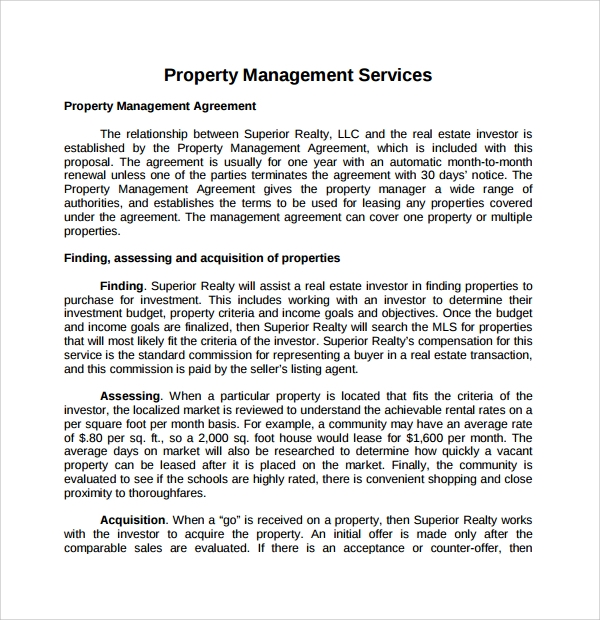 Sample Property Management Proposal Template   Free Documents
