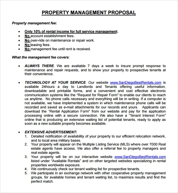 Sample Property Management Proposal Template - 9+ Free Documents