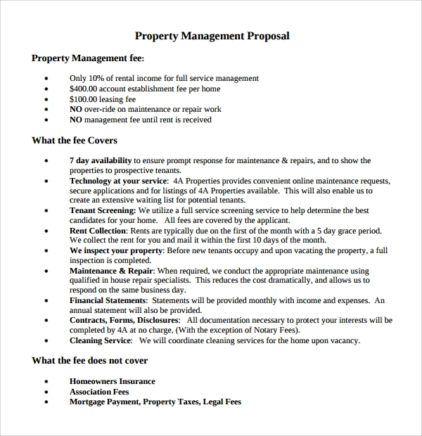 Sample property management proposal template 9 free for Land management plan template