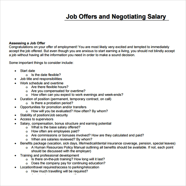 Job Salary Proposal Template  Job Proposal Samples