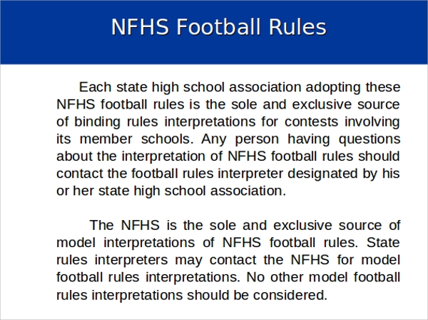 football rules powerpoint ppt