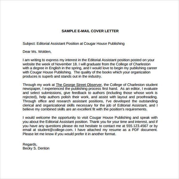 sample cover letter for a job that is not advertised - sample editorial assistant cover letter template 6 free