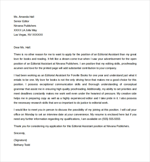 Sample Editorial Assistant Cover Letter Template - 6+ Free ...