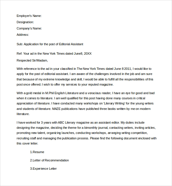 Sample Editorial Assistant Cover Letter Template   Free Documents