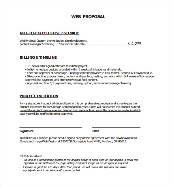 Web Design Proposal Document 2018
