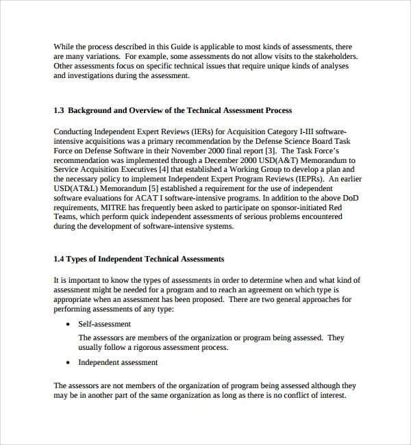 Sample Technical Assessment Template 9 Free Documents in PDF Word – Organizational Assessment Template