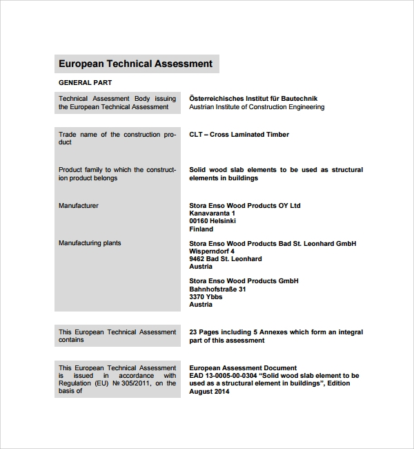 Sample Technical Assessment Template   Free Documents In Pdf Word
