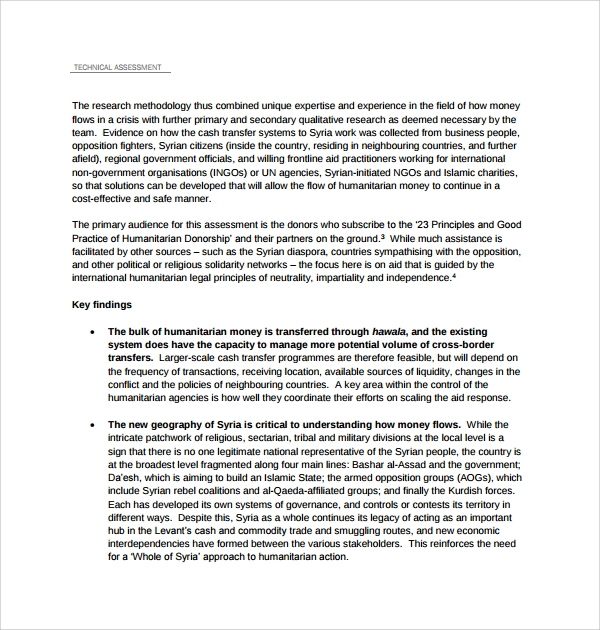 example of technical assessment template