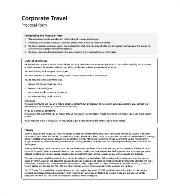 Insurance Proposal Template Corporate Travel Propose Template