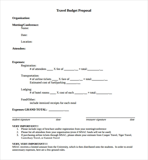 Sample Travel Proposal Template   Free Documents In