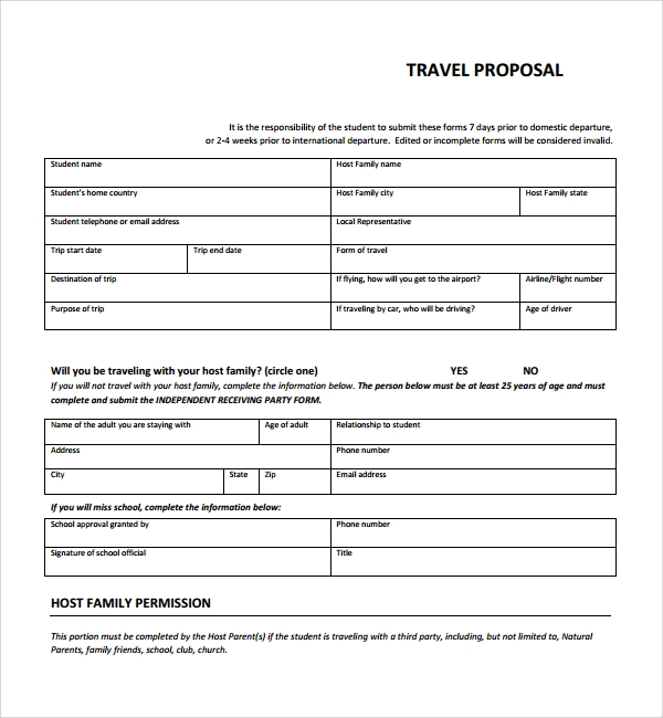 Sample Travel Proposal Template   Free Documents In Pdf