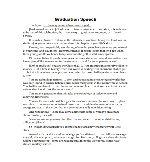 Sample essay speech