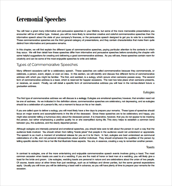 Sample Ceremonial Speech Example Template 8 Free Documents – Wedding Speech Example