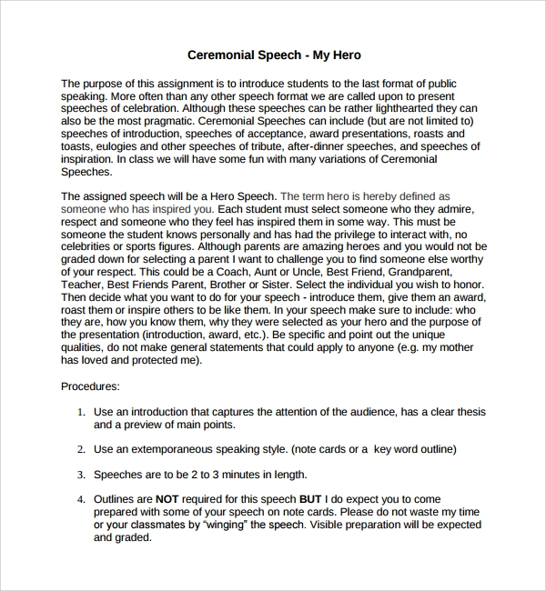 Sample Ceremonial Speech Example Template 8 Free Documents – Figure of Speech Example Template