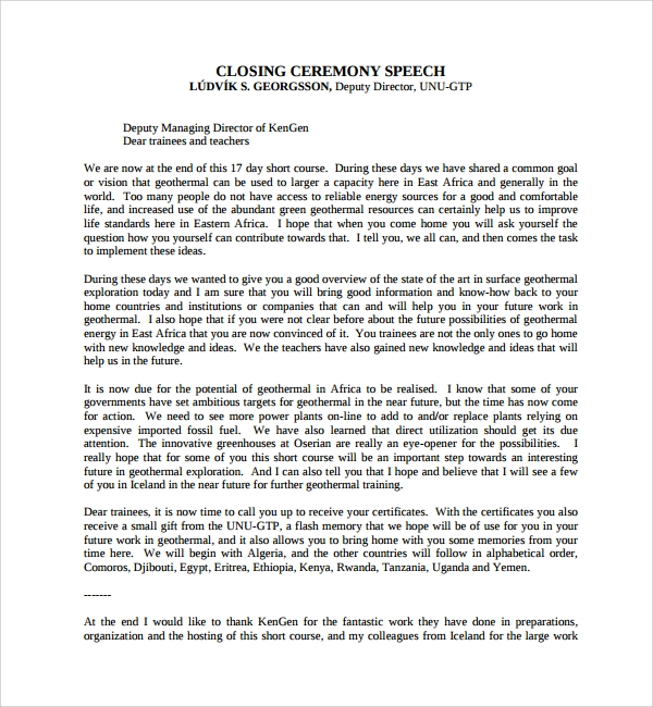 Sample Ceremonial Speech Example Template 8 Free Documents – Ceremonial Speech Example Template