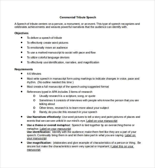 Speech Format Comp Uark Edu Details File Format Sample Ceremonial