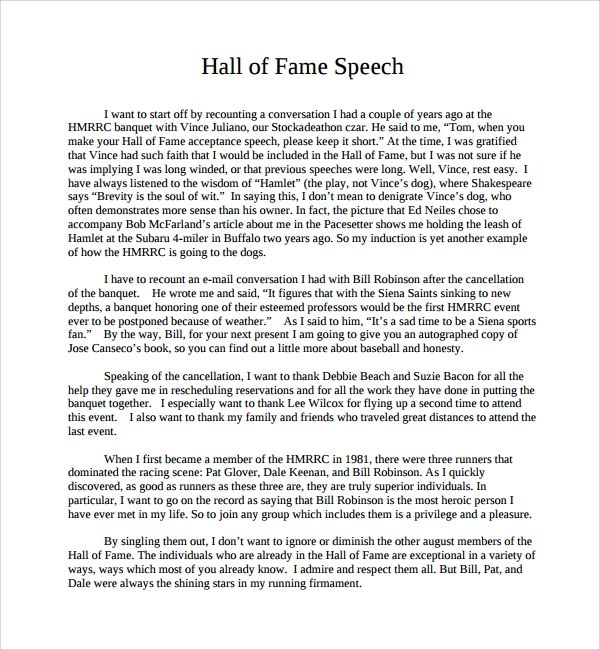 Sample Acceptance Speech Example Template 9 Free Documents in PDF – Speech Examples