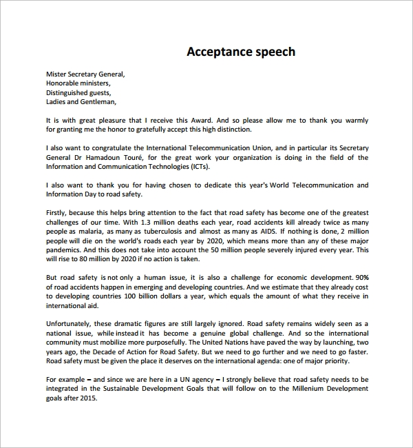 Sample Acceptance Speech Example Template   Free Documents In Pdf