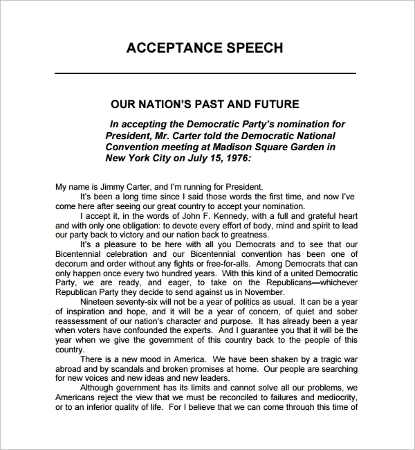 Doc600650 Ceremonial Speech Example Template Sample – Ceremonial Speech Example Template