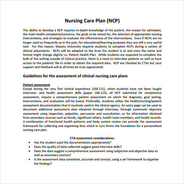 8+ Nursing Care Plan Templates | Sample Templates