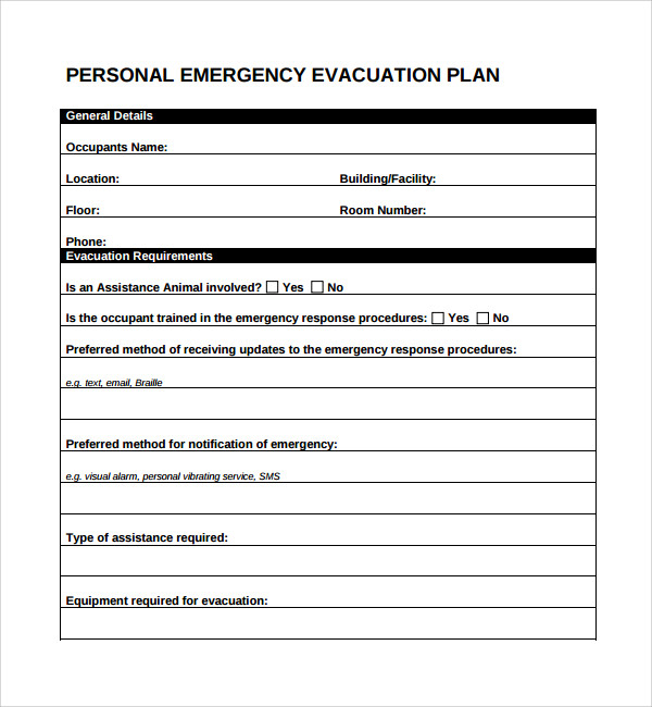 Sample evacuation plan template 9 free documents in pdf word personal emergency evacuation plan template sciox Images
