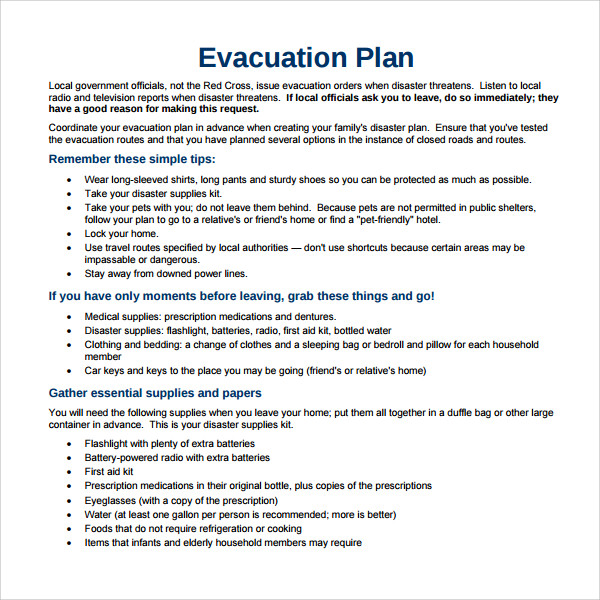 Sample Evacuation Plan Template - 9+ Free Documents in PDF ...