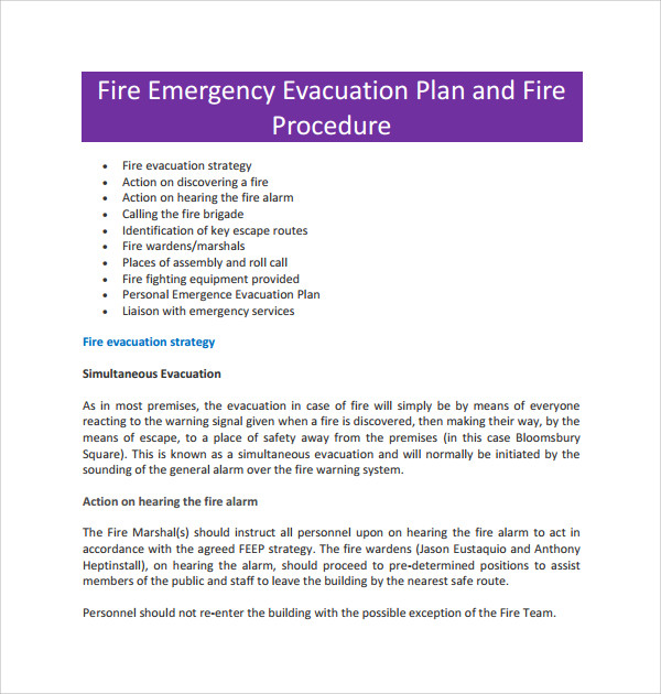 fire evacuation procedure template free - evacuation plan templates